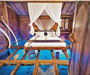 印尼酒店建在鱼塘上 内铺玻璃地板可观鱼